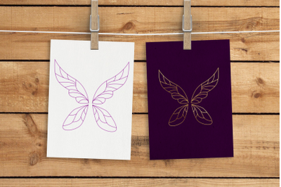 Fairy Wings Single Line Sketch for Pens | SVG | PNG | DXF