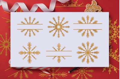 Snowflakes SVG & Snowflakes Split Cut Files Pack