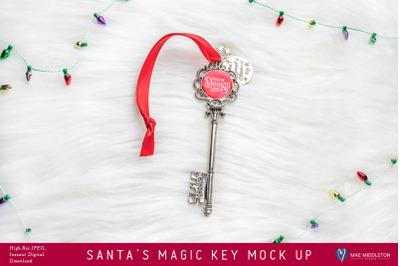 Santa's Magic Key - Lights, mock up, styled photo