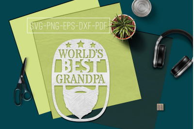 World's Best Grandpa Paper cut Template, Grandpa SVG, PDF