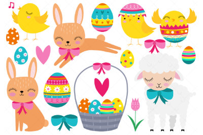 Easter Clipart, Easter Baby Animals, Chick, Bunny, Lamb, Easter Eggs,