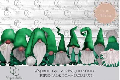 Tomte gnomes - green tartan