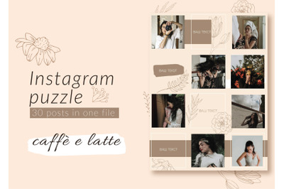 Instagram Puzzle Template  - Caffe e latte