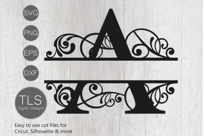 Letter A Split Monogram SVG, Split Monogram svg, Letter A cricut