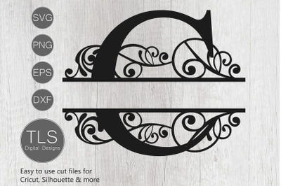 Letter C Split Monogram SVG, Split Monogram SVG, Letter C cricut