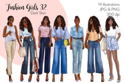 Watercolor Fashion Clipart - Fashion Girls 32 - Dark Skin