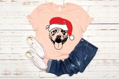 Pit bull Whit Christmas Hat SVG Santa's Elf santa Squad Pitbull 1585s