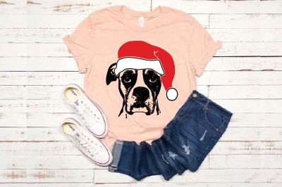 Boxer Whit Christmas Hat SVG Santa's Elf santa Squad 1586S