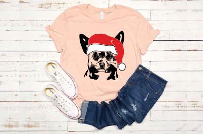 Chihuahua Whit Christmas Hat SVG Santa's Elf santa Squad  Puppy 1587S