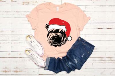 Shar Pei Whit Christmas Hat SVG Santa's Elf santa Squad 1588S