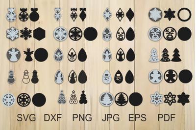 Christmas Earrings SVG, Earrings svg, Snowflake Earrings, Xmas Svg