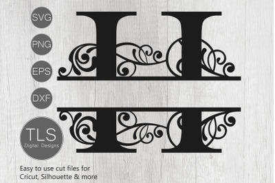 Letter H Split Monogram SVG, Split Monogram SVG, Letter H cricut
