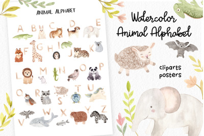 Watercolor Animal Alphabet. Cliparts Poster and Patterns