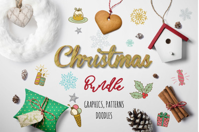 Christmas Graphic Bundle 97% OFF ~ Xmas Doodles Icons, Seamless Patter