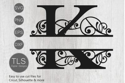 Letter K Split Monogram SVG, Split Monogram SVG, Letter K cricut