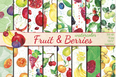 Watercolor Fruit and Berries seamless patterns