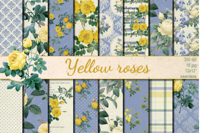 Shabby chic  Yellow Roses  seamless patterns