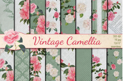 Vintage Camellia seamless patterns