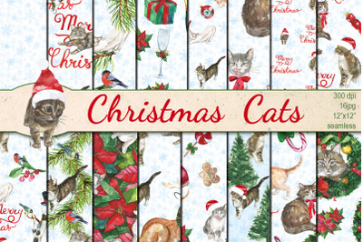 Watercolor Christmas cats seamless patterns