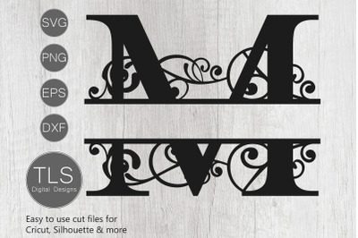 Letter M Split Monogram SVG, Split Monogram SVG, Letter M cricut