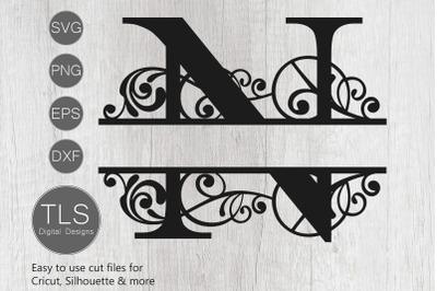Letter N Split Monogram SVG, Split Monogram SVG, Letter N cricut