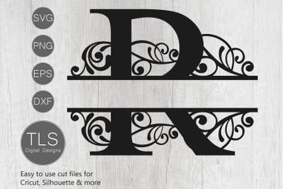 Letter R Split Monogram SVG, Split Monogram SVG, Letter R Cricut