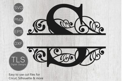 Letter S Split Monogram SVG, Split Monogram SVG, Letter S Cricut