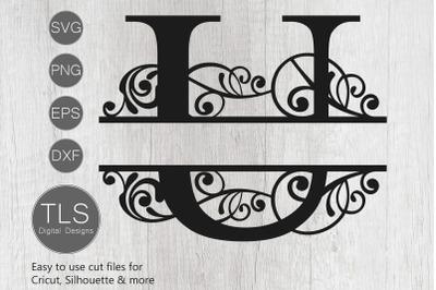 Letter U Split Monogram SVG, Split Monogram SVG, Letter U Cricut