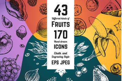 Fruits - hand drawn vector icons set