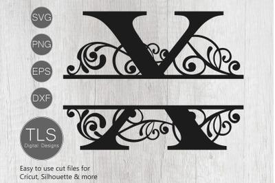 Letter X Split Monogram SVG, Split Monogram SVG, Letter X Cricut