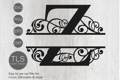 Letter Z Split Monogram SVG, Split Monogram SVG, Letter Z Cricut