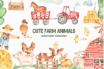 Cute farm animals watercolor collection clipart