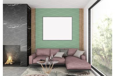 hoInterior scene - artwork background - frame mockup