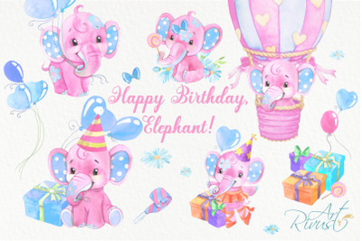 Birthday baby elephants PNG watercolor clipart for girls download. Hot