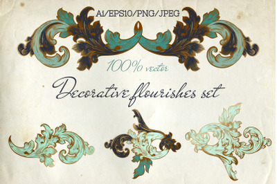Calligraphic decorative vector flourishes