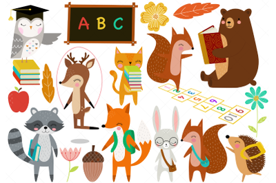 Woodland Animals Back to School Clip Art