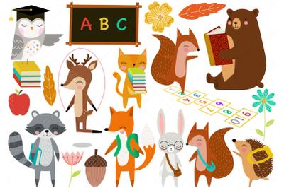 Woodland Animals Back to School Clip Art