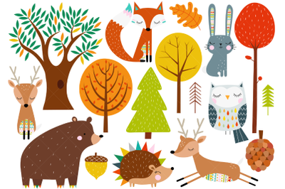 Scandinavian Woodland Animals Clip Art