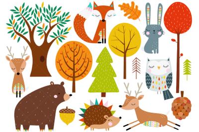 Scandinavian Woodland Animals Clip Art