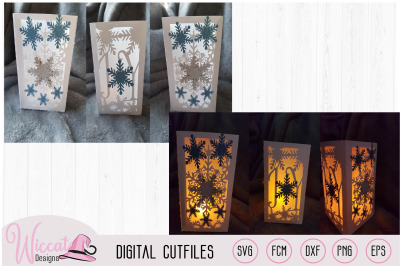 Joy Christmas lantern template, snowflakes and ice stars