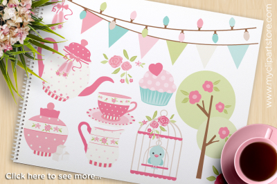 Tea Garden (1) / Shabby Chic Roses Vector Clipart