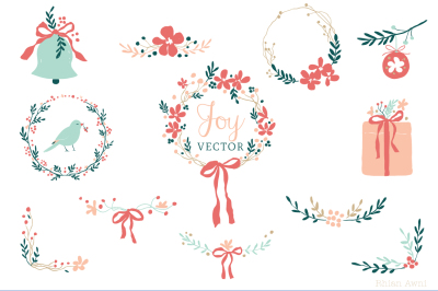 Vector Graphics - Holiday and Christmas Clip art for personal and commercial use - Wreath Bell Gift Bow Lace Bird Berry