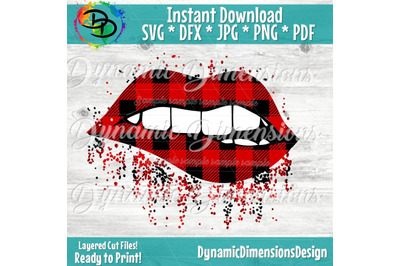 Sparkling Lips, Buffalo Plaid Print SVG, Full Lip, Sparkle, Bling, SV