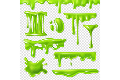 Realistic green slime. Slimy toxic blots, goo splashes and mucus smudg
