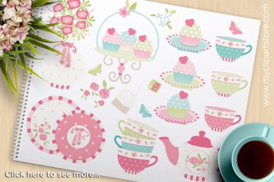 Tea Garden (2) / Shabby Chic Roses Vector Clipart