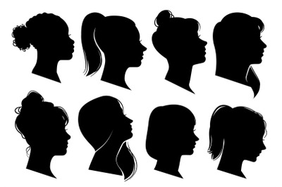 Woman heads in profile. Beautiful female faces profiles, black silhoue
