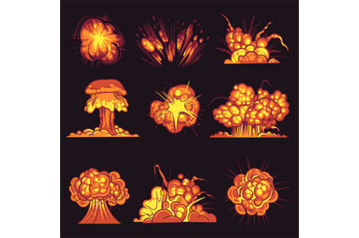 Cartoon explosions. Bomb explosion, fire bang with smoke effect. Explo