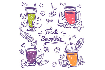 Smoothies. Detox diet drinks in different bottle, cup with fresh fruit
