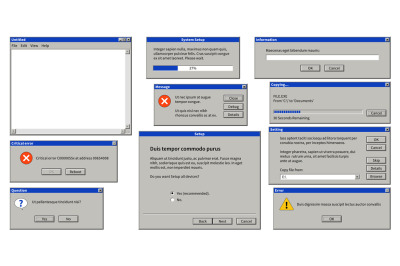 Old user interface. Browser window, error message popup dialog box wit