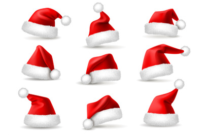 Realistic santa hats. Santa claus christmas holiday caps, celebration
